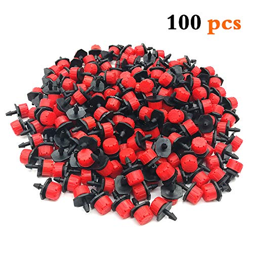 QMOEH 100 pcs 1/4 Inch Adjustable Drip Irrigation Parts, Irrigation Drippers Sprinklers for Drip Irrigation System