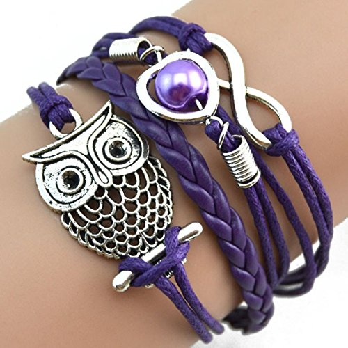Malltop Elegant Lady Handmade Love Owl Pearl Multilayer Adjustable Braid Winding Wristband Bracelet (Purple)