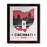 Cincinnati, Ohio Skyline Vintage Poster Print: 8x10 - White/Red
