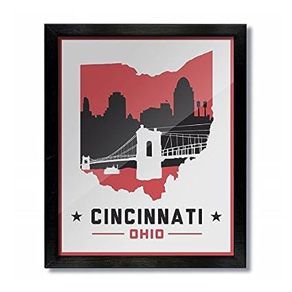 Cincinnati, Ohio Skyline Vintage Poster Print: 8x10 - White/Red
