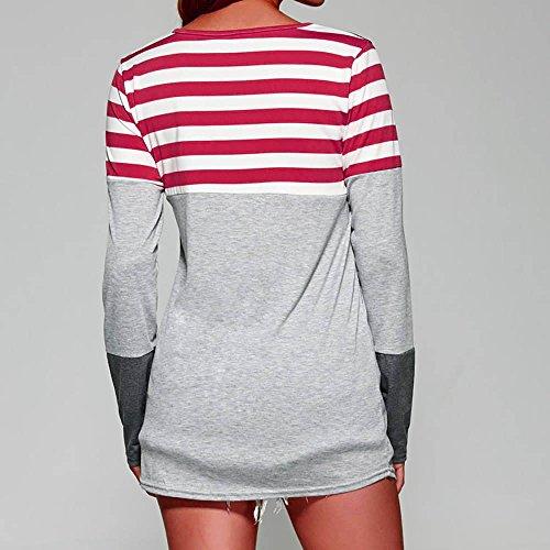 Damen Boho Lose Retro Polka Dot Bluse Beiläufig Langarm Shirt Hemd Tops Oversize