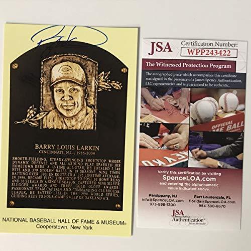 Autographed/Signed Barry Larkin HOF Hall Of Fame Baseball Plaque Postcard JSA COA from Phanatic Sports Memorabilia