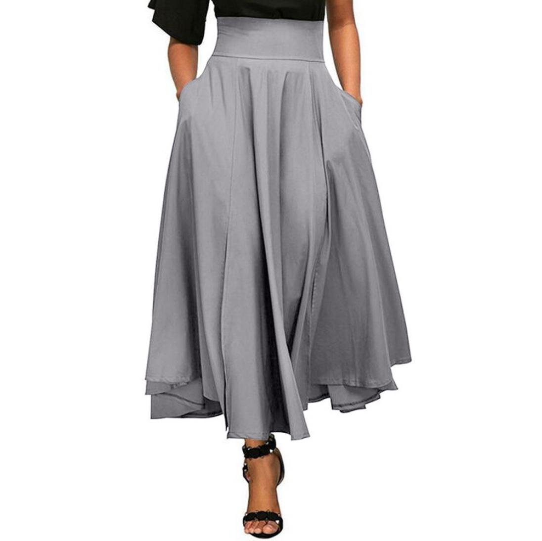 Women High Waist A-Line Front Slit Pleated Belted Long Maxi Skirt with Pocket (Gray, XXL)