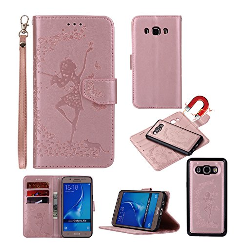 Gostyle Samsung Galaxy J510/J5 2016 Flip Detachable 2 in 1 Wallet Case,Embossed Floral Butterfly Pattern Magnetic Leather Case with Credit Card Holder/Slots and Lanyard-Dancing Girl and Cat Rose (Butterfly Floral Ring)