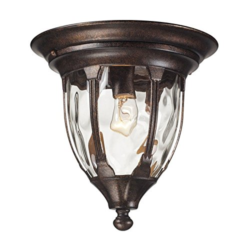 Elk 45004/1 Glendale 1-Light Outdoor Flush Mount with Water Glass Shade, 11 by 11-Inch, Regal Bronze - Outlet Glendale