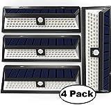 Sunlitec Solar Lights, 90 LED Outdoor Motion Sensor Solar Lights Wide Angle Design with 5 LEDs Both Side for Driveway Patio Deck Yard Garden, White Light, 4PK For Sale
