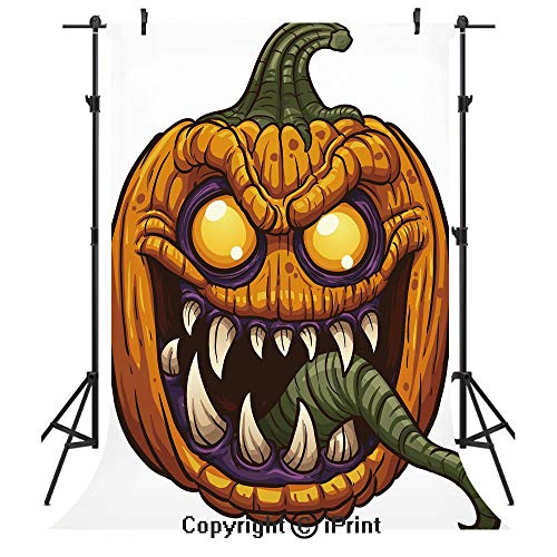 Halloween Photography Backdrops,Scary Pumpkin Monster Evil Character with Fangs Aggressive Cartoon,Birthday Party Seamless Photo Studio Booth Background Banner 5x7ft,Purple Orange Dark Green]()