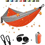 """Double Camping Hammock, Portable Lightweight Parachute Nylon 210T Hammock with Carabiners & Hammock Straps for Outdoor Backpacking Survival or Travel, Camping, Beach ( 118"""" x 78"""")"""