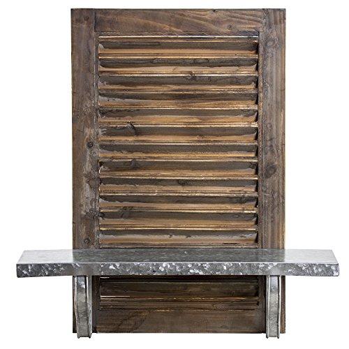 Millennium Art American Art Decor Rustic Wood and Metal Hanging Shuttered Shelf