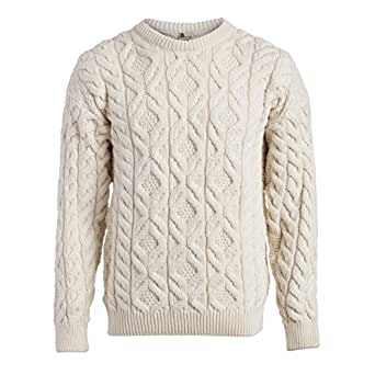 Boyne Valley Knitwear Men's Supersoft Cable Sweater (Small)