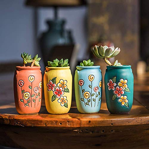 Sungmor 2.55 Hand-Carved Ceramic Succulent Planter Pot Set of 4 Cactus Plant Pot Flower Pot Container Planter Full Colors Indoor Outdoor Home Decor Simple Gift,Present Idea,Office Decoration