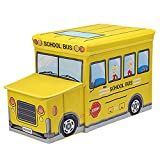 Viyor shop Collapsible Storage Organizer,School Bus Folding Storage Ottoman Seat Kids Toy Books Box for Bedroom (Yellow)