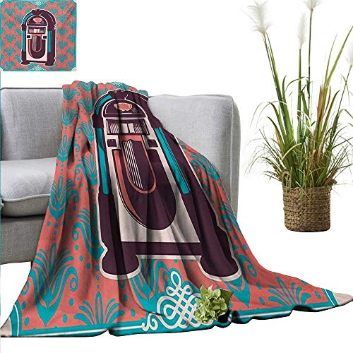AndyTours Wearable Blanket,Jukebox,Floral Paisley Inspired Backdrop with Music Box Retro Party Print,Turquoise Coral Dried Rose,300GSM, Super Soft and Warm, Durable 70
