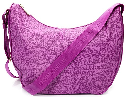 Borsa spalla tracolla donna Luna Media Bag Borbonese jet op Women Satchel Bag Fucsia