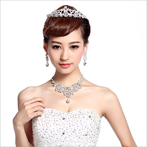 Quantity 1x Zero_pr_it_ Bridal jewelry Crown Tiara Party Wedding Headband Women Bridal Princess Birthday Girl Gift _three-piece_ suit Korean style Wedding yarn jewelry necklace earrings Wedding jewelr