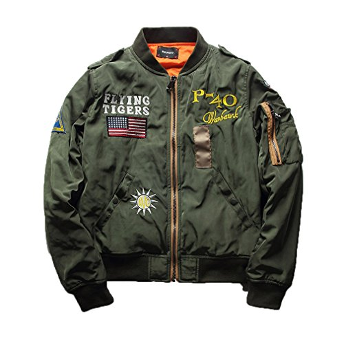 (NEW Flying Tiger Baseball Flight Jacket Plus Size Fashion Spring Autumn Pilot Bomber Jacket as picture XL )