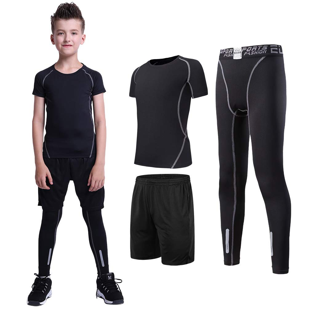 TERODACO Boys Girls Athletic Compression Shorts Sleeve Shirts and Leggings 3 Pcs by TERODACO