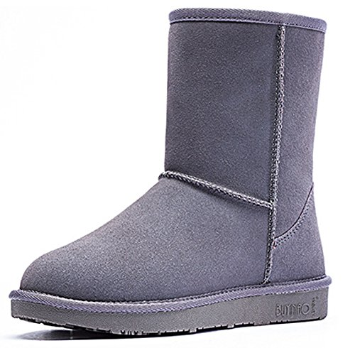 Boots Fur Gray Fully Women's Lined Stylish Popuus Snow xnBqRww