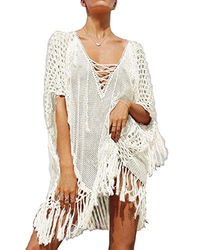 KingsCat Stylish Crochet Tassel Drawstring Beach Dress Swimsuit Cover up,White -