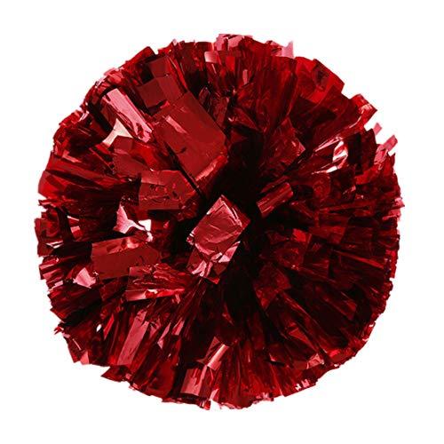 JPJ(TM) New❤Cheer Pom❤1pcs Hot Fashion Metallic Foil and Plastic Ring Handheld Pom Poms Cheerleading Party Decor (Red)