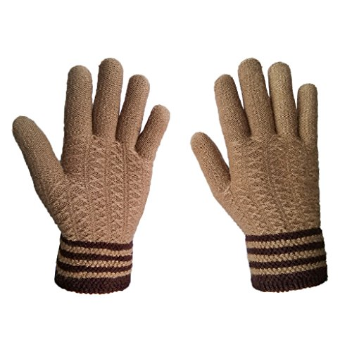 LETHMIK Mens Thick Unique Winter Knit Gloves with Warm Wool Lining Khaki 100% Acrylic Knit Glove