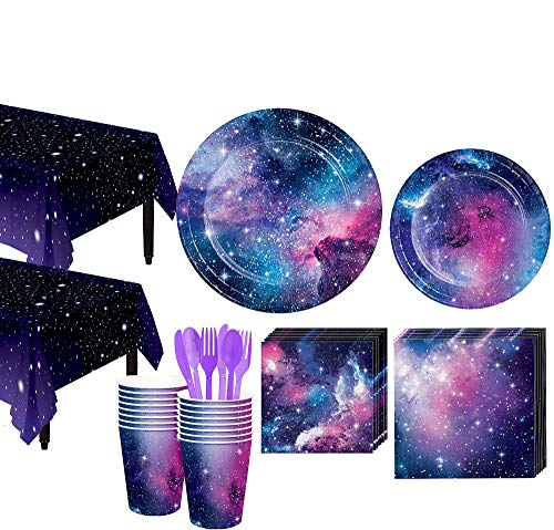 Party City Galaxy Tableware Kit and Supplies for 32 Guests, Includes Plates, Cups, and More -