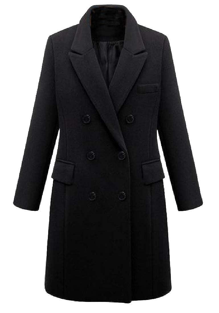 Black Baseby Women's Slim Casual Notched Lapel Eco Fleece Duster Coat