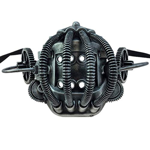 Storm Buy] Steampunk Style Metallic Scientist Time Traveler Half Bottom Face Mask Halloween Costume Cosplay (Ancient Silver) -