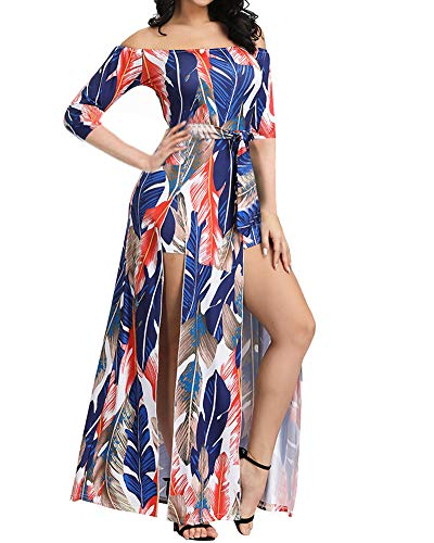 Maxi Rompers Dress for Women Off Shoulder Floral Jumpsuits 2019 Summer XL (Rompers Dresses For Women)