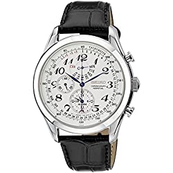 Seiko Men's SPC131P1 Neo Classic Alarm Perpetual Chronograph White Dial Black Leather Strap Watch