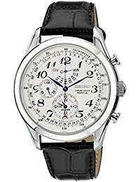 Men's SPC131P1 Neo Classic Alarm Perpetual Chronograph White Dial Black Leather Strap Watch