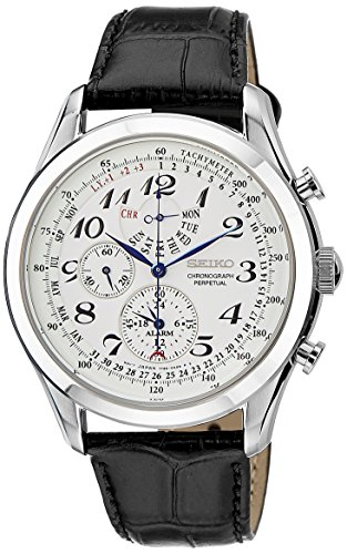 Seiko-Mens-SPC131P1-Neo-Classic-Alarm-Perpetual-Chronograph-White-Dial-Black-Leather-Strap-Watch