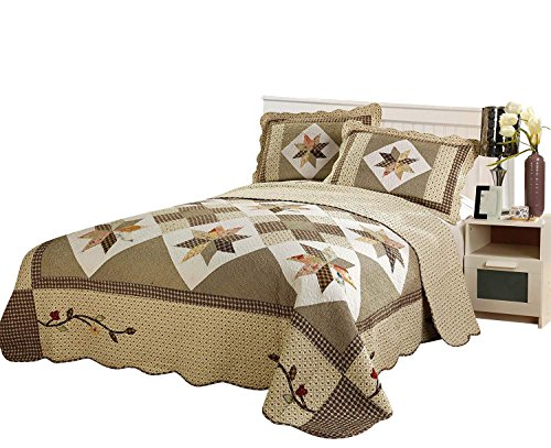 Brandream Queen Size Luxury Patchwork Quilted Bedspread Cotton Quilts Set (Patchwork Brown Quilt)