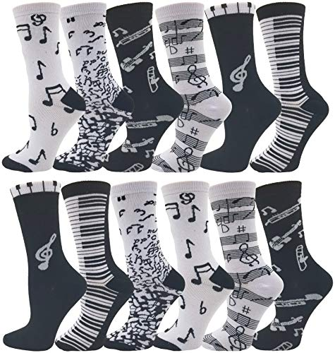 Womens Novelty Socks, 12 Pairs, Soft & Comfortable, Cute Colorful Patterned Sock Bulk Pack Gift (Musical - Music Socks Note