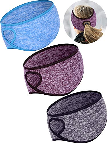 Tatuo 3 Pieces Fleece Ponytail Headband Earband Winter Running Headband Ear Warmer Headband for Women Girls Outdoor Sports and Fitness (Color Set 2) ()