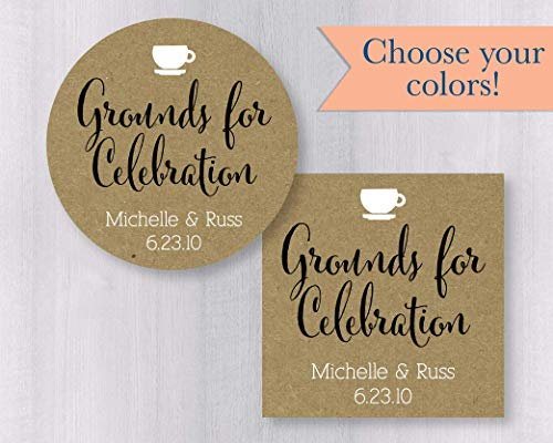 (Grounds for Celebration Kraft Coffee Tea Wedding Favor Stickers (#092-KR) )