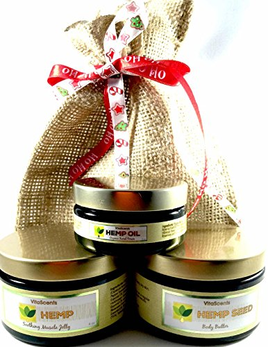VitaScents Hemp Oil Soothing Muscle Jelly, Hemp Oil Facial Serum, Hemp Seed Body Butter Gift Set