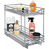 Lynk Professional Slide Out Double Shelf - Pull Out Two Tier Sliding Under Cabinet Organizer - 11 inch wide x 18 inch deep - Chrome - Multiple Sizes Available