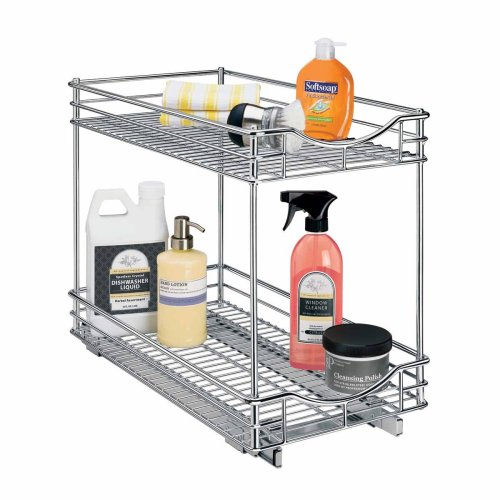 - Lynk Professional Slide Out Double Shelf - Pull Out Two Tier Sliding Under Cabinet Organizer - 11 inch Wide x 18 inch deep - Chrome - Multiple