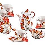 Peacock Coffee Mug Set European Teapot Luxury Coffee Mug/Tea Mug 15-piece Coffee Set Tea Set Tea Service For Wedding Gift Red