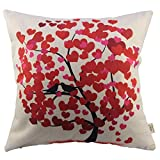 HOSL® Blend Linen Decorative Couple Throw Pillow Cover Cushion Case Couple Pillow Case Life Tree Red for Auto Seat