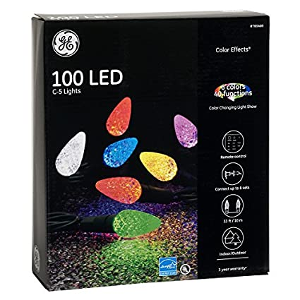 ge color effects 100 count 33 ft multi function color changing c5 led