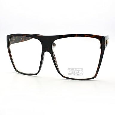 Tortoise Super Oversized Eyeglasses Flat Top Square Clear Lens ...