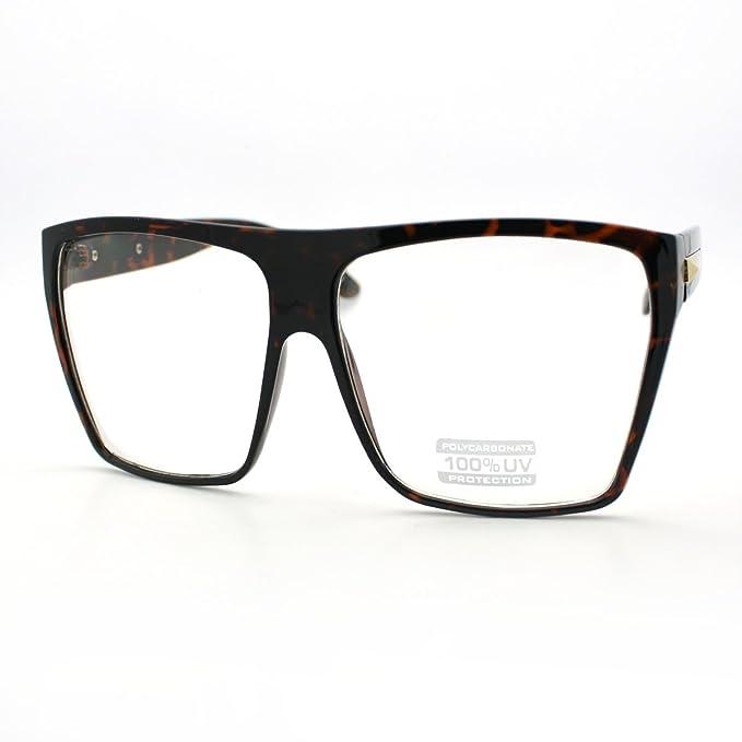 Super Oversized Eyeglasses Flat Top Square Clear Lens Glasses Frames ...