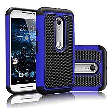 Motorola Moto G G3 3rd Gen XT1540 Rugged Impact Heavy Duty Dual Layer Shock Proof Case Cover Skin - Blue