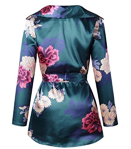 Tunic Flower Short Women Coolred Sleeve Dress Neck V Bandage Long Green Print fw8zqXzgFx