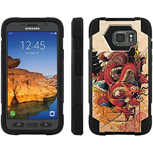 AT&T [Galaxy S7 Active] ShockProof Case [ArmorXtreme] [Black/Black] Hybrid Defender [Kickstand] - [Dragon] for Samsung Galaxy [S7 Active] Sales