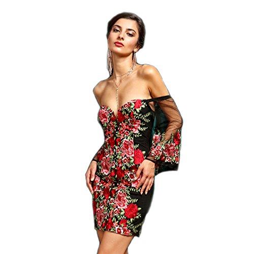 Crazy4bling Soieblu, Noir Et Rouge Floral Brodé Hors De L'épaule Mini Robe Courte, Grande