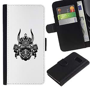 LASTONE PHONE CASE / Lujo Billetera de Cuero Caso del tirón Titular de la tarjeta Flip Carcasa Funda para Samsung Galaxy S6 SM-G920 / samurai white warrior horn scary japan