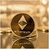 Golden Plated Ethereum Coin-ETH Physical Metal Guritta Token ICO Digital Blockchain Crypto Currency You Hold For Commemorative Collection In Plastic Holder Case|Great Funny Gift For Boy/Girl/Woman/Man